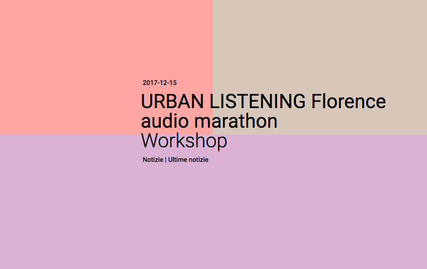 URBAN LISTENING Florence audio marathon Workshop